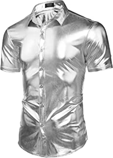 Men's Nightclub Metallic Sliver Button Down Short Sleeves Slim Fit Shirt Shinny Disco Party Costume