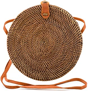 Atabag Made in Bali Bag Rattan Tasche Rund Rundtasche Korbtasche Strohtasche Strandtasche Weiss Schwarz Natur