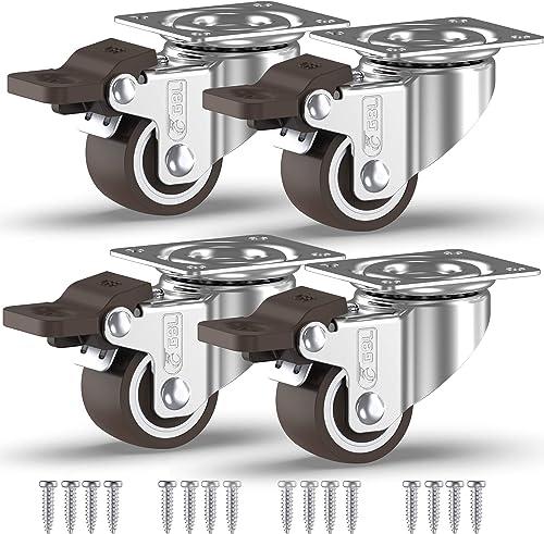 GBL® Lot de 4 roulettes pivotantes en caoutchouc avec vis 25 mm / 50 mm pour meubles, table, chariot (25 mm – 4 avec ...