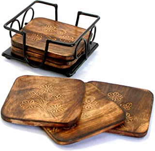 StonKraft Fancy Mango Wooden Tea Coffee Coasters/Coaster Set/Coasters Set with Wrought Iron Holder