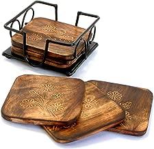 Stonkraft Fancy Mango wooden tea coffee Coasters/ Coaster Set/ Coasters Set with wrought iron holder
