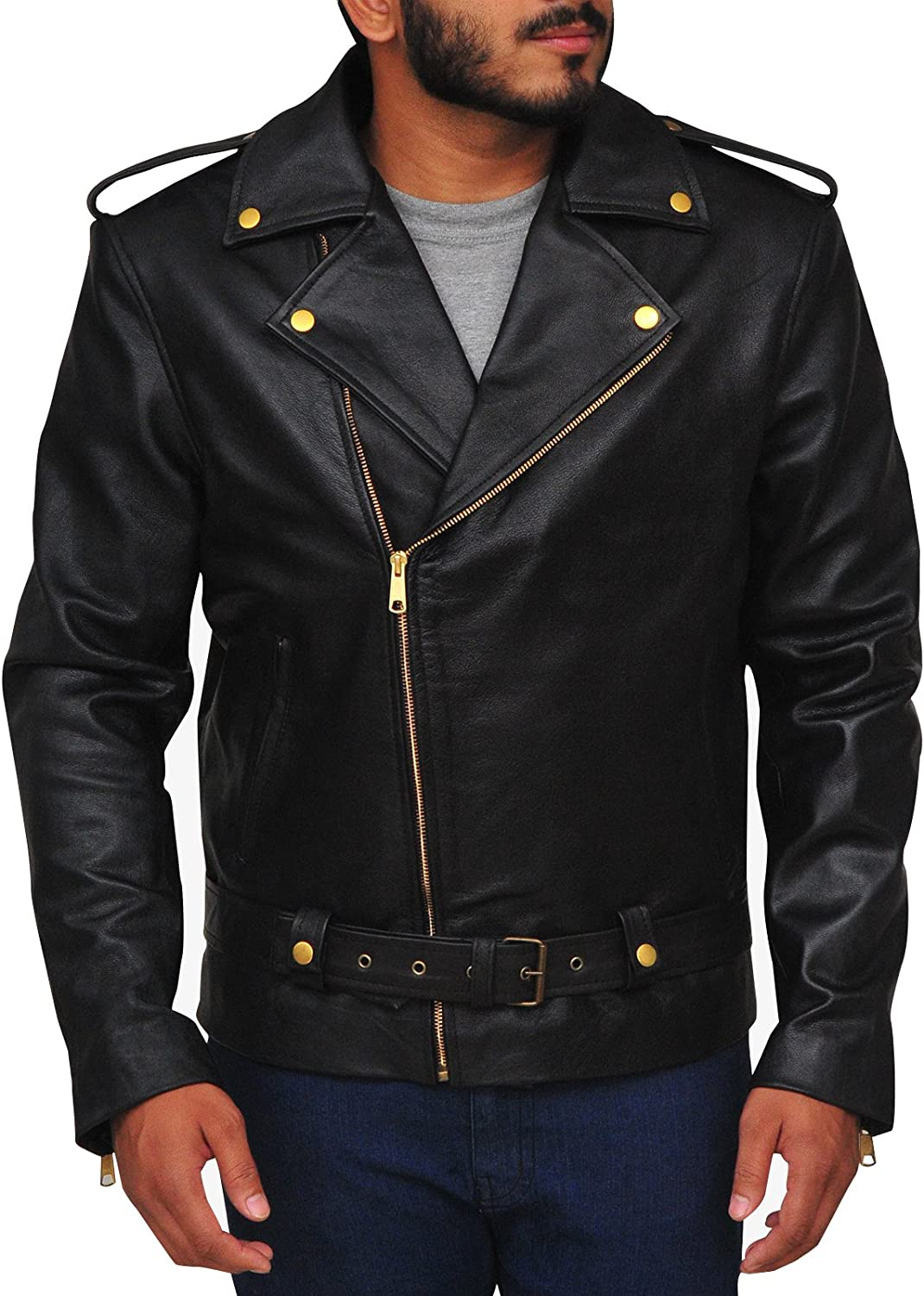 7a66cb6ae22 TrendHoop Allaric Allaric Allaric Men's Motorcycle Premium Natural Buffalo  Leather Slim Fit Jacket 422d3e