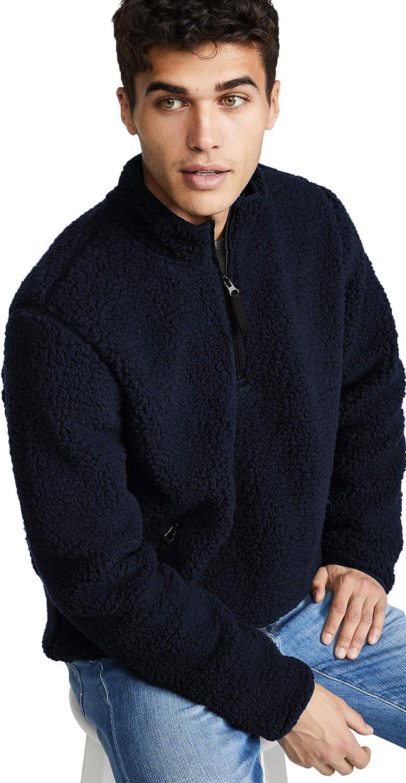 Quarterzip Pullover Men Mock Turtleneck Sweater Long Sleeve Windproof Navy Blue