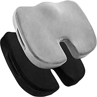 2 Pack Comfort Seat Cushion – Memory Foam Tailbone Pillow Pad for Sitting, Office, Computer Desk Chair, Car, Travel – Cont...