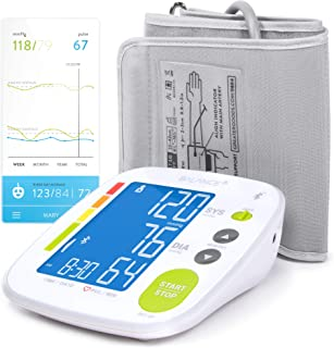 Greater Goods Bluetooth Blood Pressure Monitor Cuff, Smartphone Connected Health Monitoring for Home Use