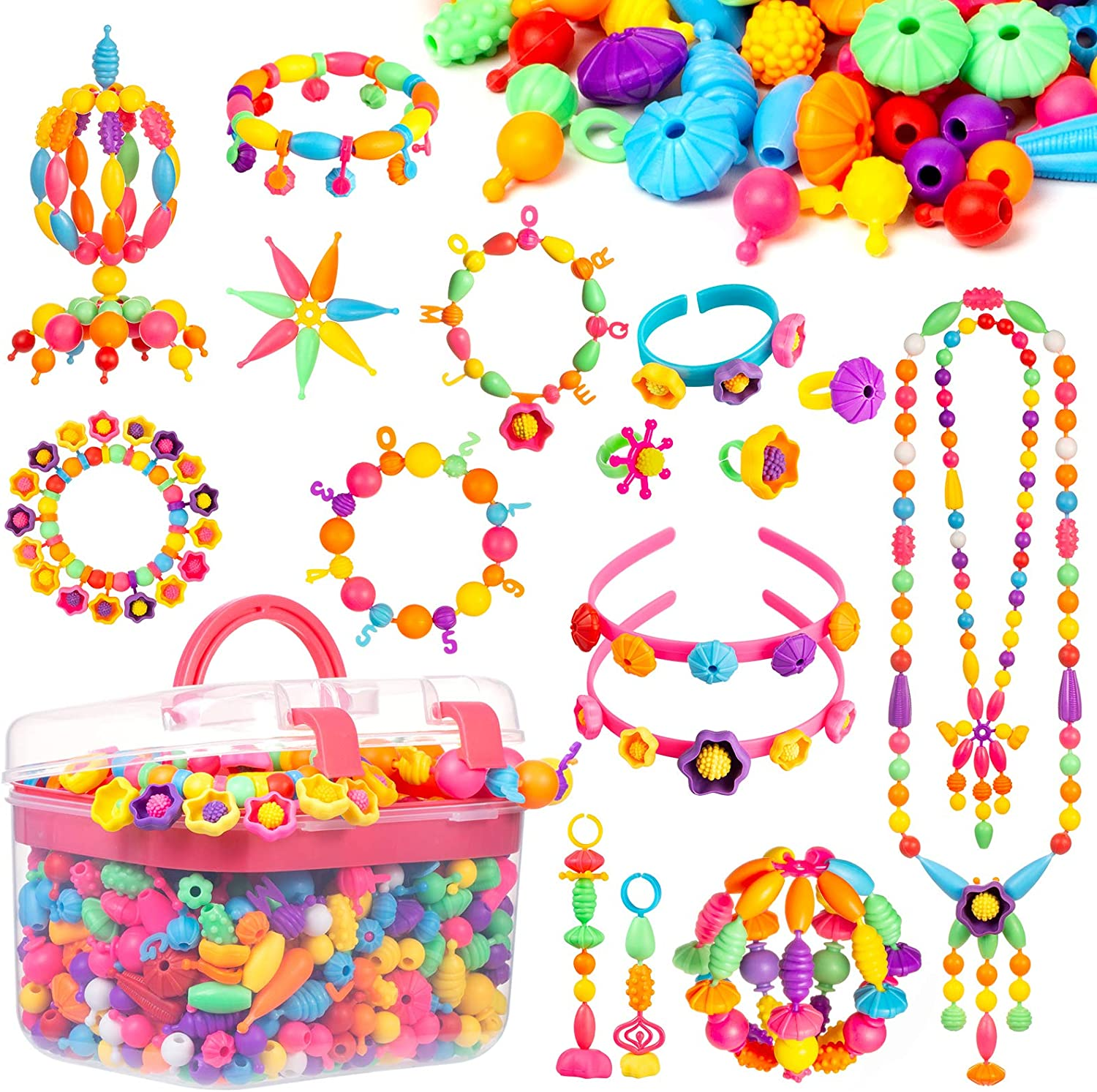 NEW before selling LASMEX Pop Kansas City Mall Snap Beads Jewelry Making Toys Kids Kit Girls for