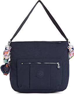 Kipling Carley Solid Hobo Crossbody Bag with A Floral Printed Strap