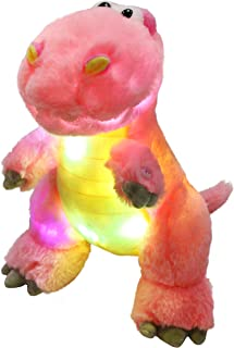 Houwsbaby LED Glowing T-Rex Dinosaur Colorful Light Up Stuffed Animal Soft Plush Toy Hugging Kids Gift Accompany at Night Pet Decoration Halloween Christmas,12.5'' (Pink)