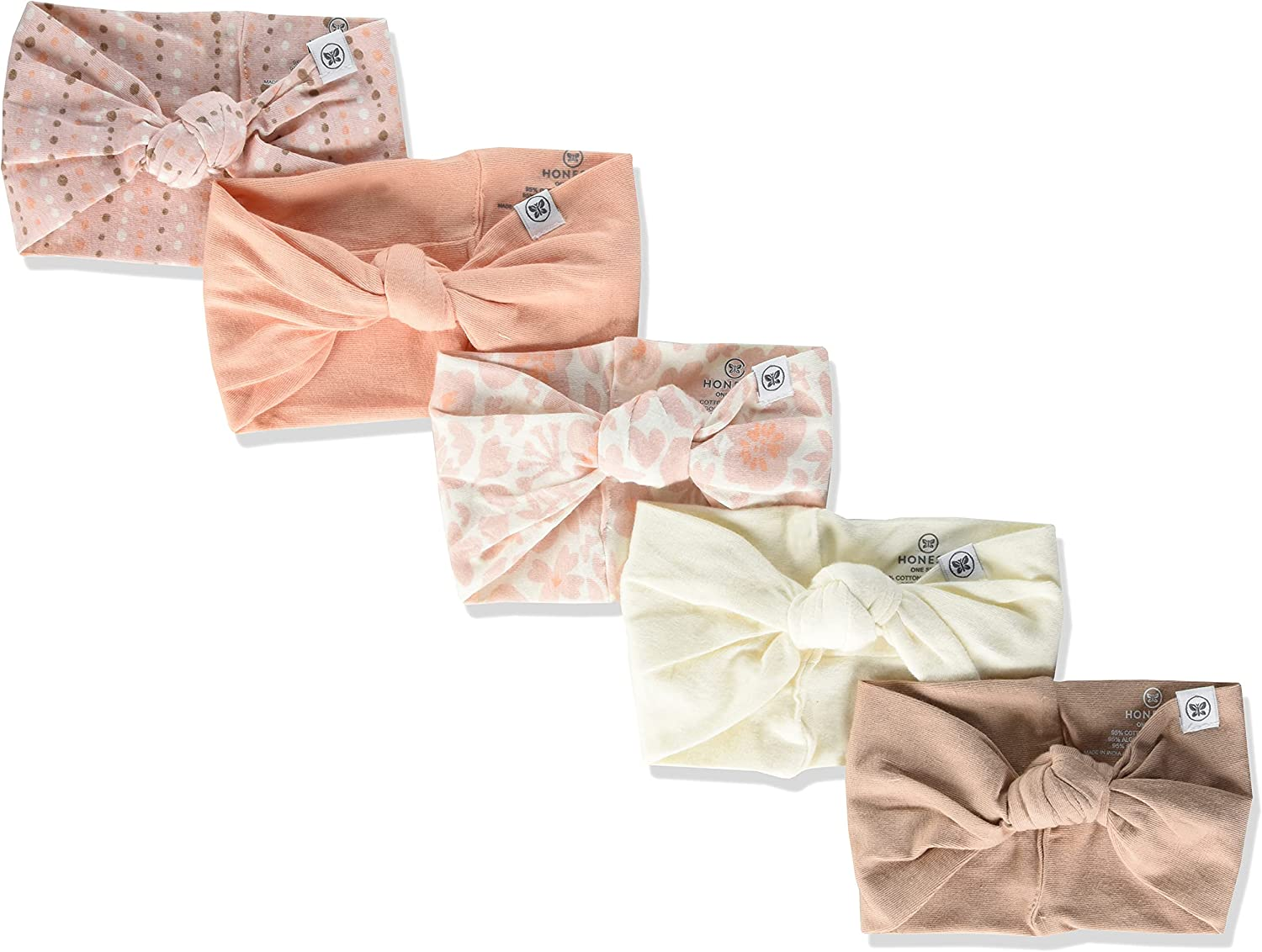 HonestBaby Baby 5-Pack Organic Cotton Knotted Headbands
