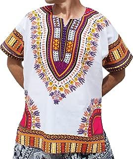 RaanPahMuang 明亮白色棉质非洲 Dashiki 加大码衬衫 正面无褶