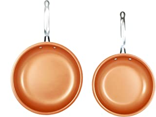 MASTERPAN Copper tone 10 and 12 inch Non-Stick Ceramic Frying Pans 2-Pack
