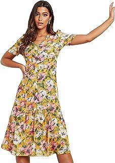 AOP V Neck Midi Women's Dress with Zipper Closure