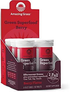 Amazing Grass Green Superfood Antioxidant: Effervescent Drink Tablets, Antioxidants for full body recovery plus One serving of Greens and Veggies, Berry Flavor, 60 Servings