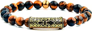 West Coast Jewelry | Crucible Natural Stone and Gold Plated Stainless Steel Beaded Stretch Bracelet (8mm)