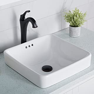 Kraus Elavo Bathroom Semi-Recessed Ceramic Sink, White KCR-281