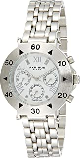 Akribos XXIV Women's Silver Multifunction Diamond Dual Time Zone Watch - Embossed Box Patter Dial with Date and Day Subdia...