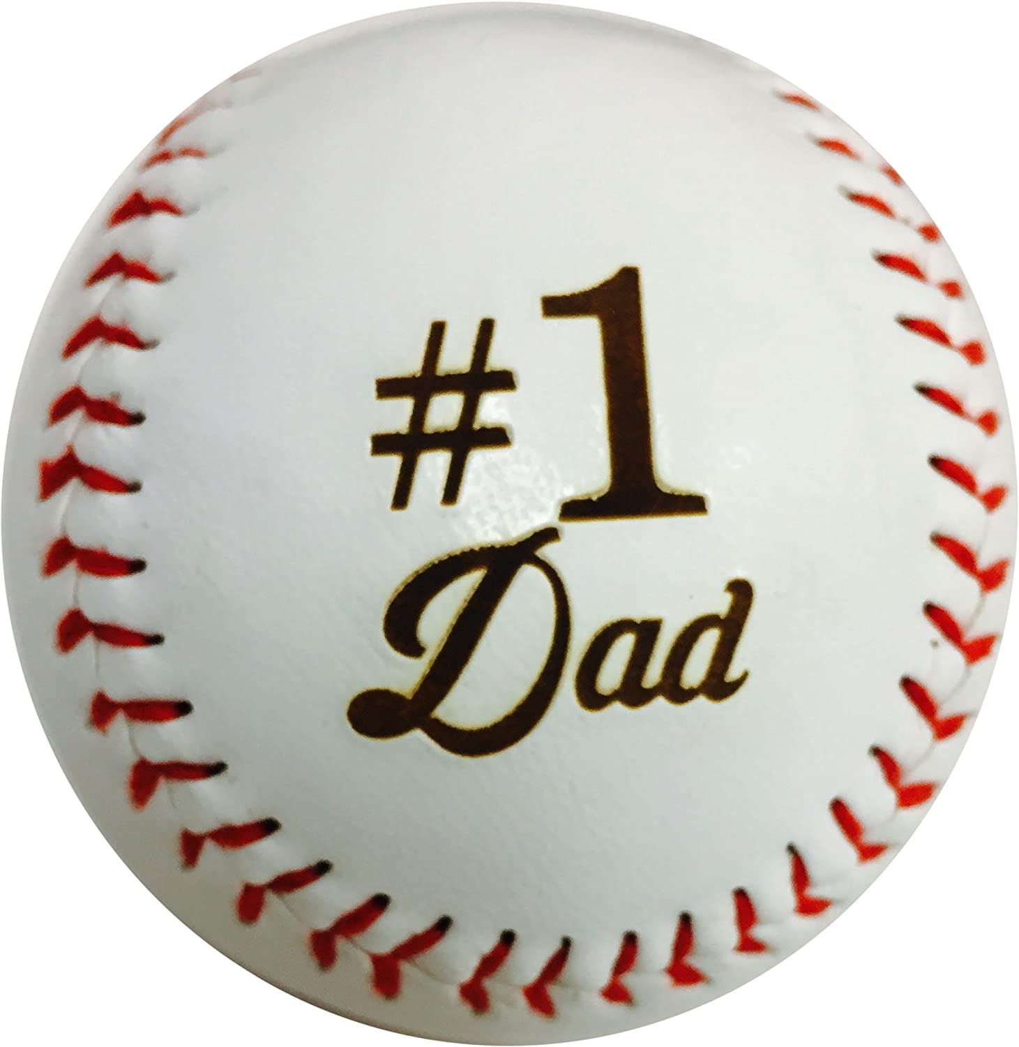Number One #1 Dad Laser Engraved Synthetic Leather Baseball Gift