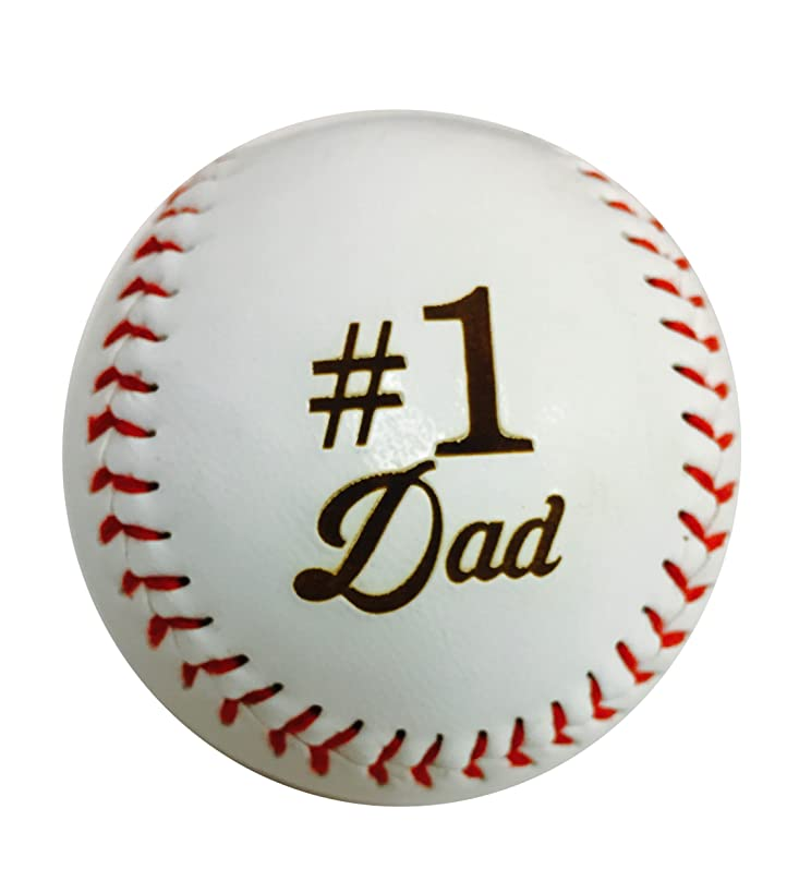 Number One #1 Dad Laser Engraved Synthetic Leather Baseball Gift - Father's Day, Birthday, Anniversary Present