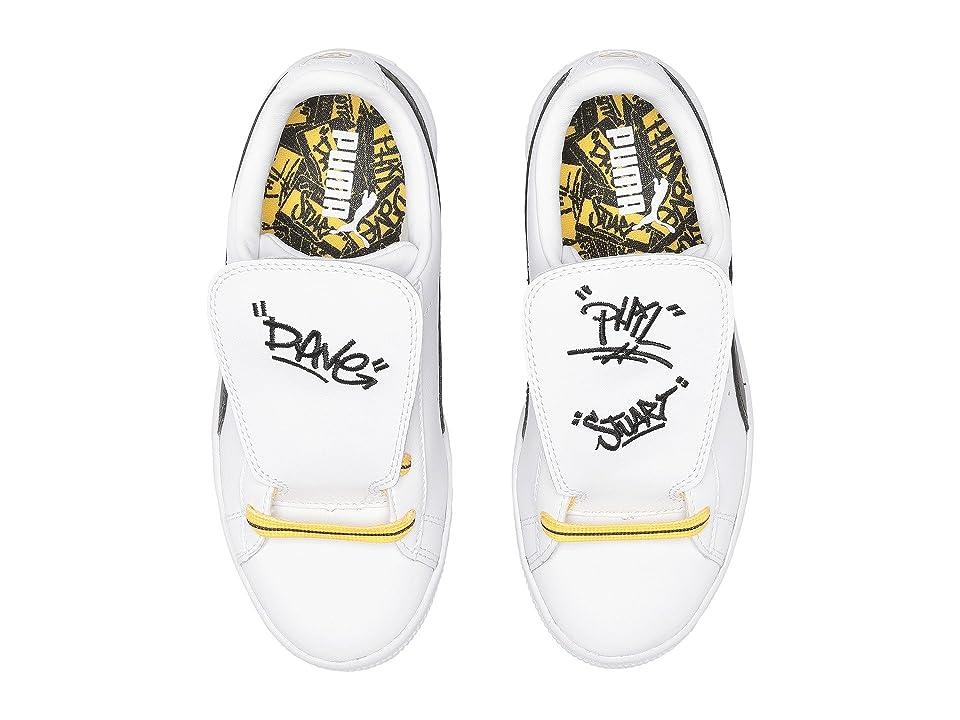 Puma Kids Minions Basket Tongue (Little Kid) (PUMA White/PUMA Black/Minion Yellow) Kids Shoes