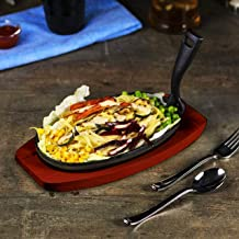 RAJ 2724328301776 Oval Sizzler Tray Large With Holder, Black, 28 cm