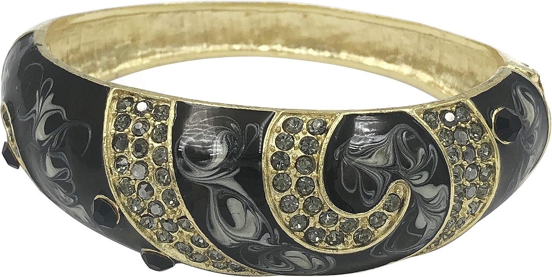 Swirl Enamel Statement Fancy Rhinestone Bling Thin Hinged Bangle Bracelet - Assorted Colors