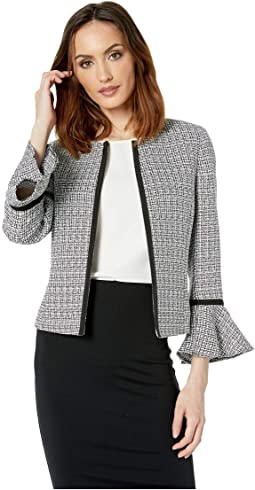 Tweed Open Jacket with Tulip Sleeve