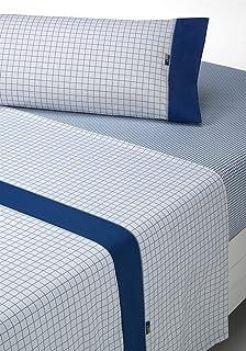 sabanalia Checks Bedding Set Full, gris-azul, Bed 180, 3