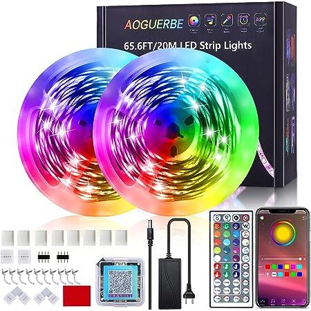 LED Strip 20m, AOGUERBE LED Streifen RGB mit App Steuerung, IR-Fernbedienung, Farbwechsel LED Lichterkette Sync mit Musik, für Party, Zuhause, Schlafzimmer, TV, Küche [Energieklasse A+]