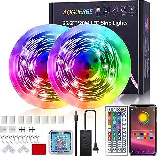 LED Strip 20m, AOGUERBE LED Streifen RGB mit App Steuerung, IR-Fernbedienung, Farbwechsel LED Lichterkette Sync mit Musik,...