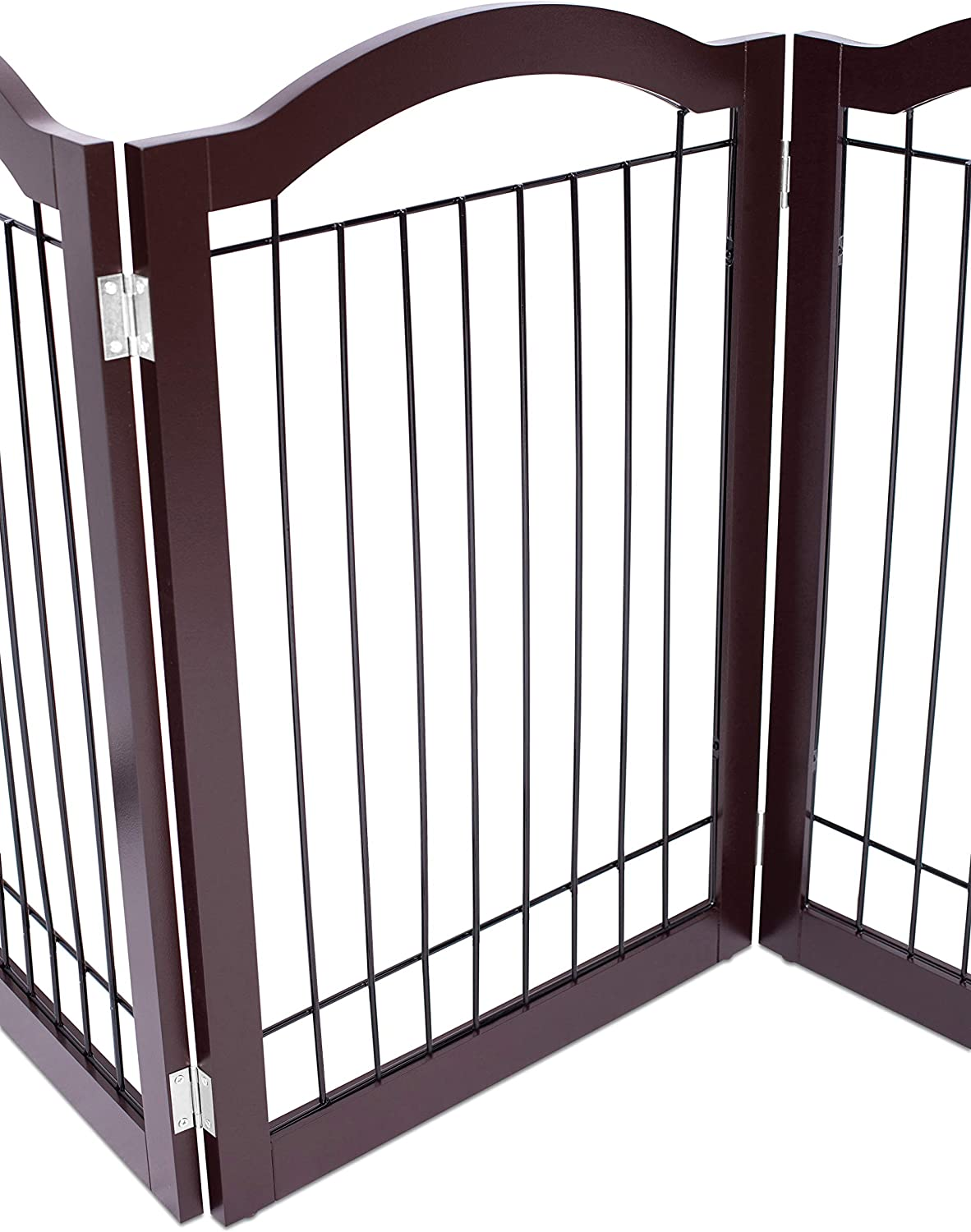 30 Inch Tall Pet Puppy Safety Fence Fully Assembled Internets Best Wire Dog Gate with Arched Top Espresso Durable MDF 3 Panel Folding Z Shape Indoor Doorway Hall Stairs Free Standing