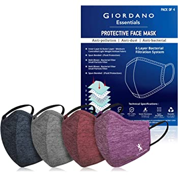 GIORDANO | Sports Dri-fit | Anti Pollution | 6 Layer | Reusable Outdoor Face Mask | Navy, Grey, Burgundy, Purple | Pack of 4