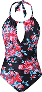 Women's Plus Size Swimwear Tummy Control Halter Swimsuits Retro One Piece Bathing Suits