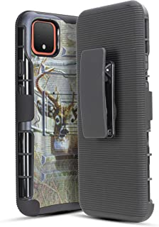 for Google Pixel 4 XL Belt Clip Case with Temper Glass Hybrid Holster, Jackpot Wireless Heavy Duty Shockproof Full Body Protective Cover with Kickstand and Swivel Belt Clip for Pixel 4XL