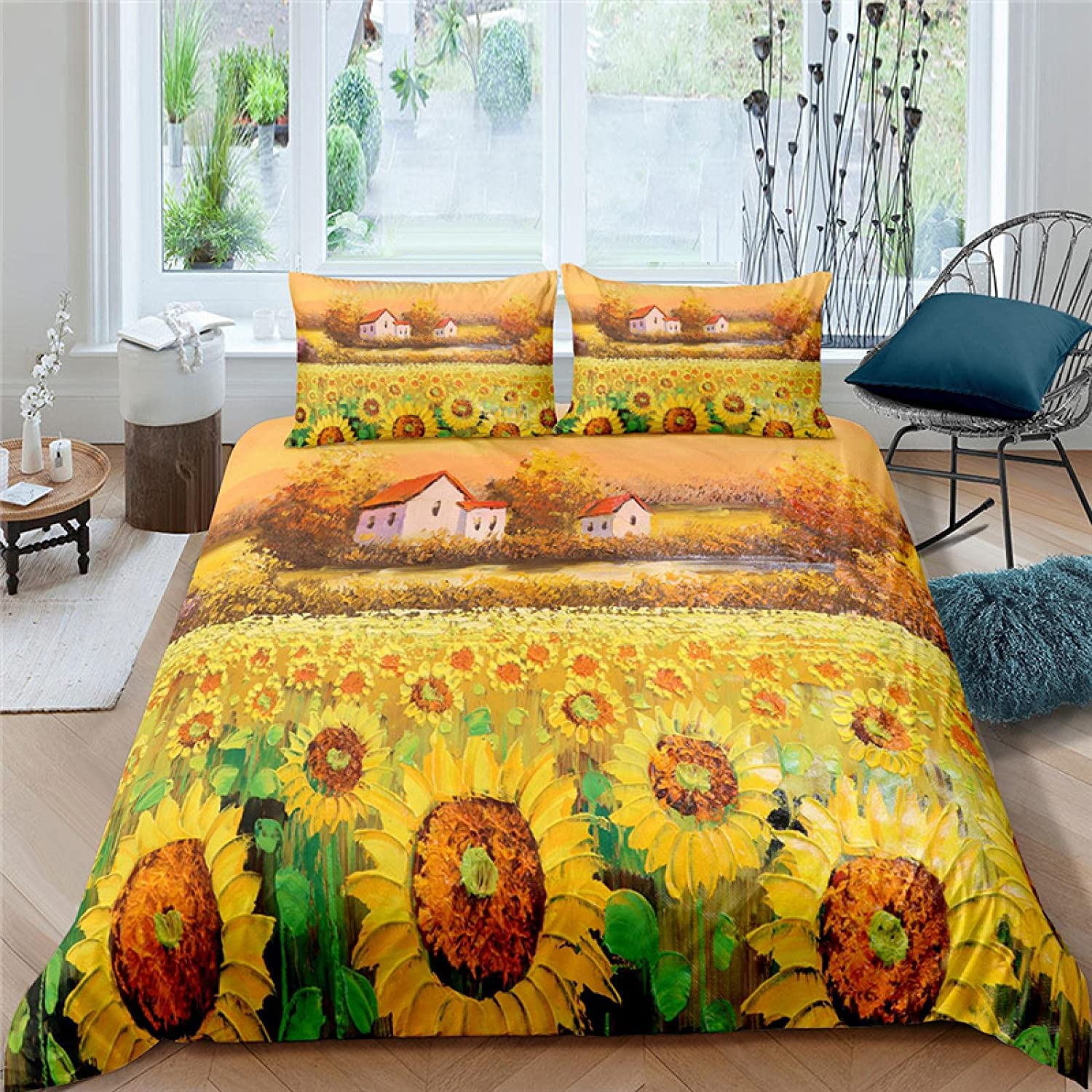 HQHM Duvet Cover King Safety excellence and trust 3 Pieces Plant Yellow Oil Painti Sunflower