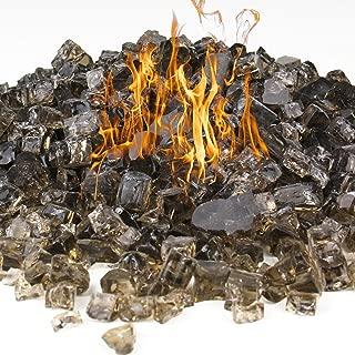 CYS EXCEL Fire Glass for Fire Pit 10 Pounds 1/2 inch Fireplace Glass Fireglass Glass Rock Outdoor (Dark Bronze)