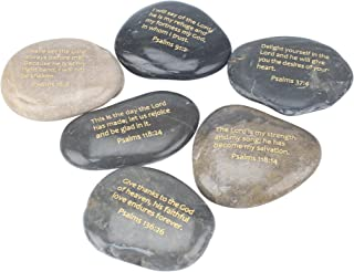 Stonebriar Inspirational Psalm Stones, Religious Gift Ideas for Friends and Family, Decorative 6 Piece Set, Natural