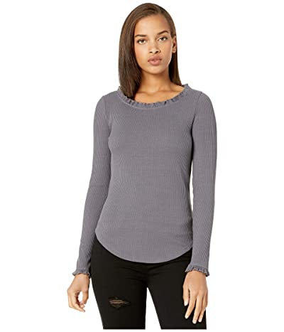Chaser Cozy Rib Long Sleeve Ruffle Neck Tee (Stingray) Women