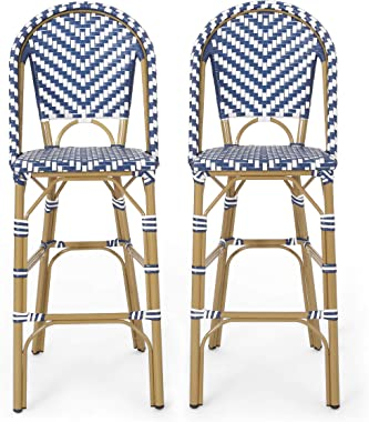 Christopher Knight Home 314446 Kinner Outdoor Barstool, Navy Blue + White + Bamboo Print Finish