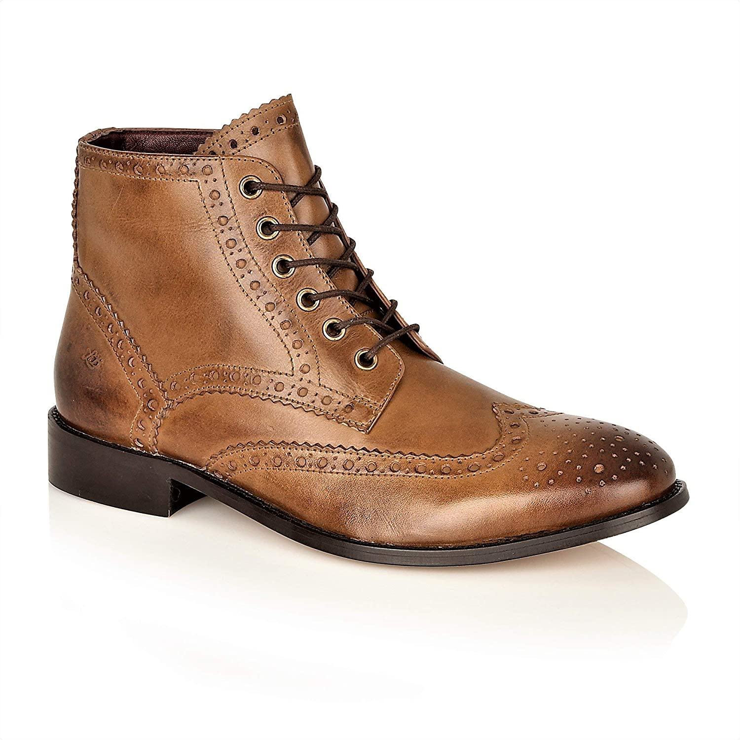 London Brogues Sky Walker Gatsby Hi Boots Leather Wingtip Ankle Formal Wedding Boots