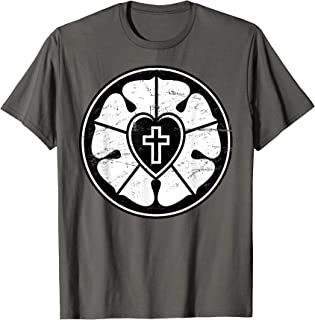 Martin Luther Rose Distressed Lutheran T-Shirt
