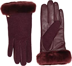 Short Italian Wool Blend Tech Gloves with Long Pile Sheepskin Trim