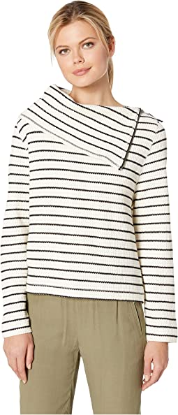 Zip Neck Textured Knit Top