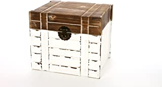 Hosley 10 Inch High Table Top Wood Storage Box with Two Tone Lid Country Style Decor. Ideal Gift for Home Party Favor Weddings Spa Reiki Meditation Bathroom Settings O9