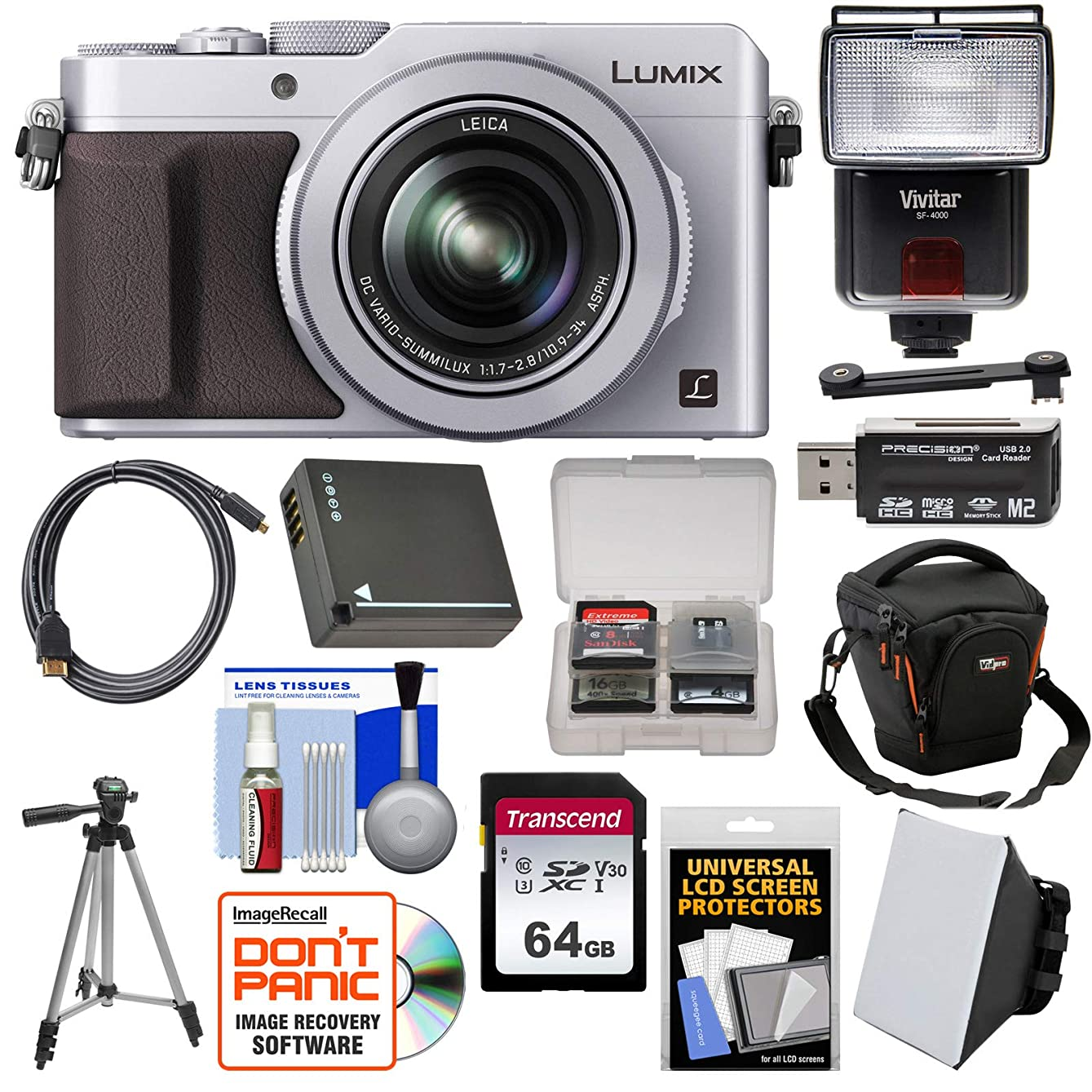 Panasonic Lumix DMC-LX100 4K Wi-Fi Digital Camera (Silver) with 64GB Card + Case + Flash & Soft Box + Battery + Tripod + Kit jxhhcx488492