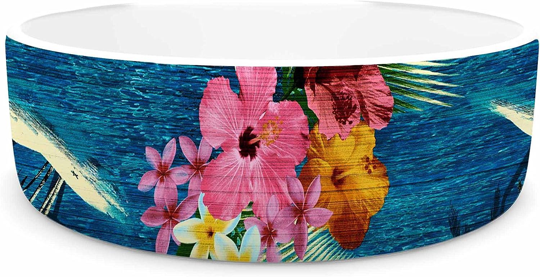 KESS InHouse Victoria Krupp Paradise Island  Teal Floral Pet Bowl, 4.75