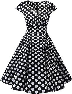 Bbonlinedress Women's Vintage 1950s cap Sleeve Rockabilly Cocktail Dress Multi-Colored