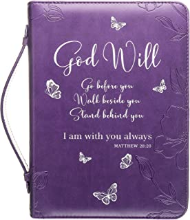 Bible Cover | Book Case/Cover in Purple with Butterflies | Fits Bibles and Books Up to 9 x 6.5 x 1.5 inches | Blessed | Perfect Christian Gift for Women and Girls | Faux PU Leather | Medium Size