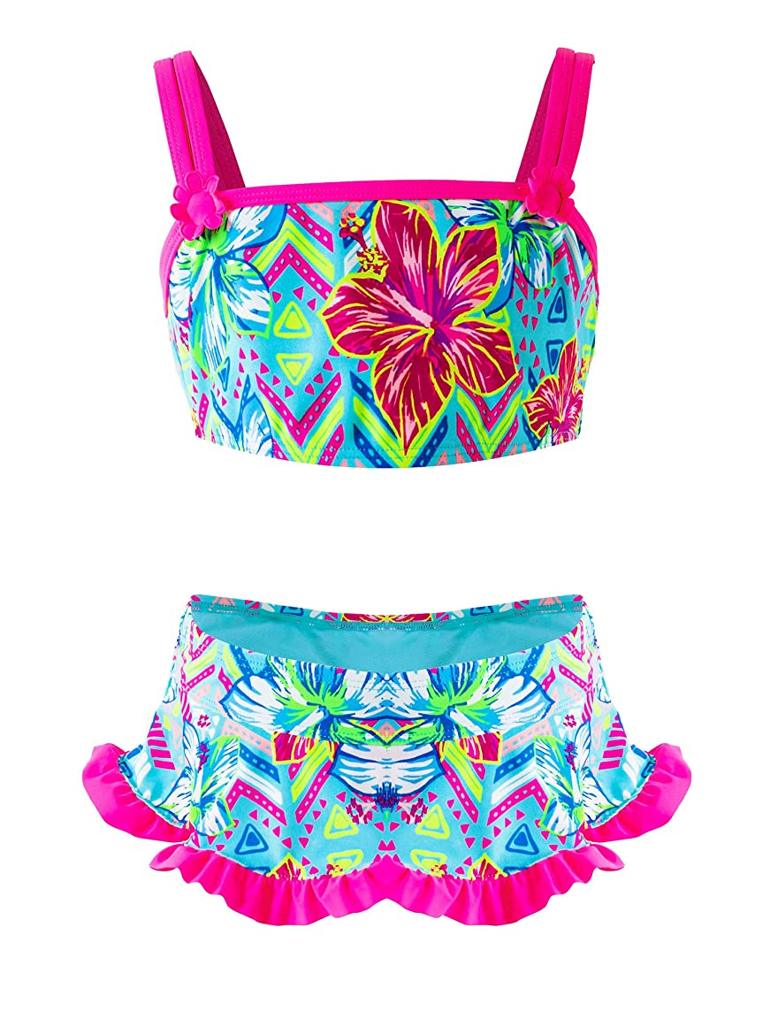 Girls Two-Piece Bikini, Flouncing Hawaii Floral Printing Swimsuit, Beach Bathing Suit for Vacation