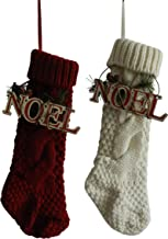 CVHOMEDECO. Burgundy and Ivory White 14 Inch Christmas Tree Knit Stockings Bag with Wooden Noel Sign Vintage Hanging Decor...