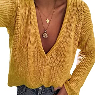 Womens Long Sleeve Deep V Neck Blouse Casual Loose Knitted Pullover Sweater Tops